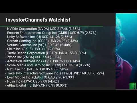 InvestorChannel's Esports Watchlist Update for Thursday, October, 14, 2021, 16:00 EST
