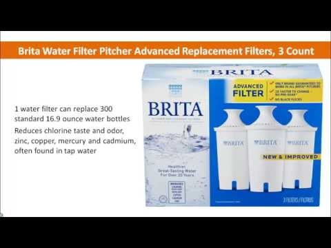 Brita Water Filter Pitcher Advanced Replacement Filters, 3 Count - best water filter pitcher