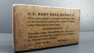 1942 US Army Field Ration D Review Emergency MRE Taste Test Eating Vintage Survival Chocolate