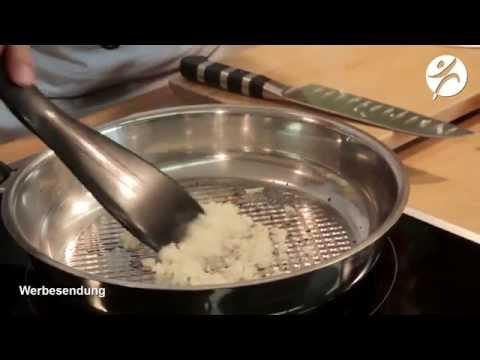 Steak ohne Fett in der Edelstahlpfanne
