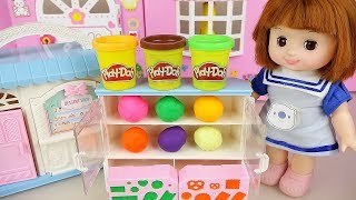 Play Doh and baby doll desert shop play Baby Doli house