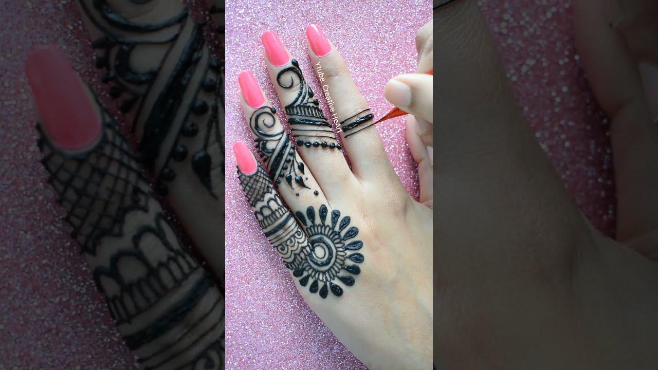 trendy finger mehndi back hand mehndi design by shweta naroka