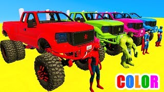 COLOR MCQUEEN Monster Truck in Spiderman Cars cartoon for babies with 3D Superheroes for kids!