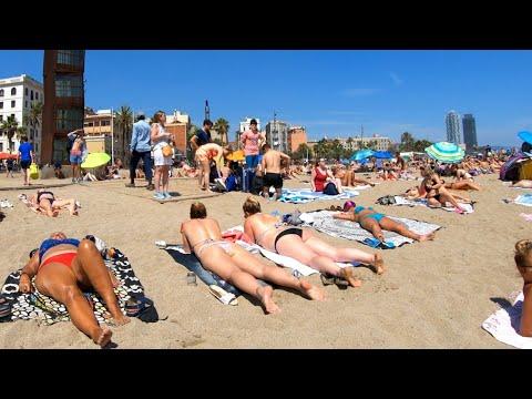 relaxing sunny beach walk in  Spain【4K】