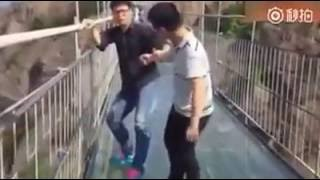 Funniest Acrophobia(fear of heights) Over a Glass Bridge|恐高症