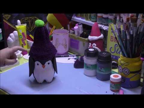 Upcycling - Pinguin Geschenkdose aus alten PET Flaschen gemacht