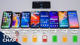OnePlus 6T vs Mate 20 Pro vs Note9 vs Pixel 3 XL vs iPhone XS / XR BATTERY Test! | The Tech Chap