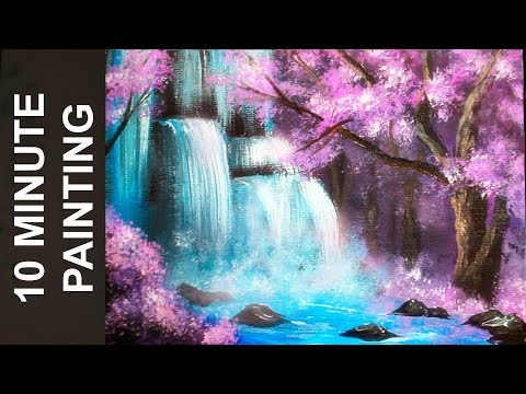 Painting A Waterfall in a Cherry Blossom Tree Forest with Acrylics in 10 Minutes!