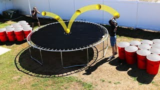 Bowling Ball vs Trampoline GIANT Solo Cup Pong!! *GROSS SMOOTHIE CHALLENGE*