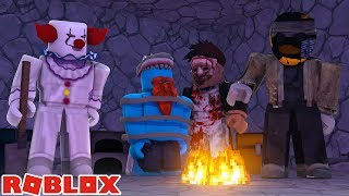 LITTLE KELLY AND BABY DUCK CHASED BY THE KILLER !!! Sharky Roblox
