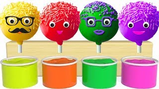 Learn Colors With lollipops cake pops Painting cartoon for children to learn english