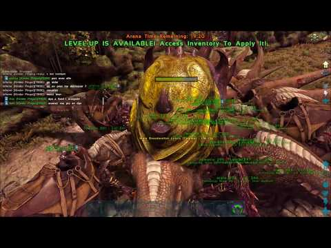 ARK  Survival Evolved : The Center Boss Fight 20 rex vs Broodmother and Megaphitecus