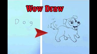 How to Draw a Dog Labrador - How to turn words Dog into a Cartoon - Wow Surprise Drawings