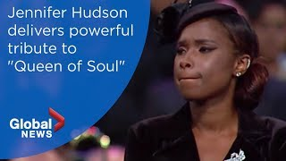 Aretha Franklin funeral: Jennifer Hudson soulful tribute