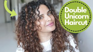 CUTTING MY 3b CURLY HAIR INTO LAYERS - DOUBLE UNICORN HAIR CUT - DIY hair cut for volume - Im SHOOK