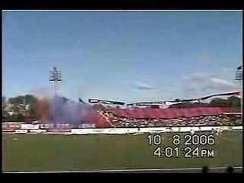 """Salida IBERIA vs U. De , CHILE"" Barra: Banda Azulgrana • Club: Deportes Iberia"