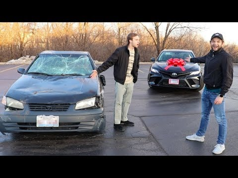Destroying Friends Car and Buying Him a New One!