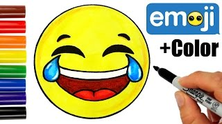 How to Draw + Color Laughing Tears of Joy Emoji step by step -Super EASY Cute