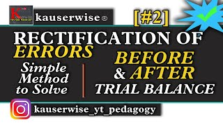Rectification of Errors in accounting [#2] Before & After Trial Balance with solved problem
