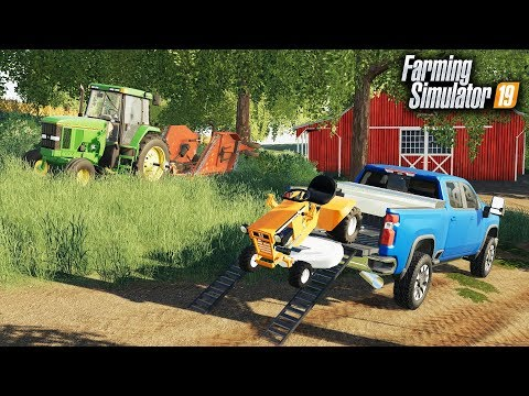 FS19- LAWN CARE! MOWING OVERGROWN GRASS WITH GARDEN TRACTOR