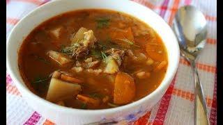 Суп рассольник домашний с рисом\ Просто вкусно