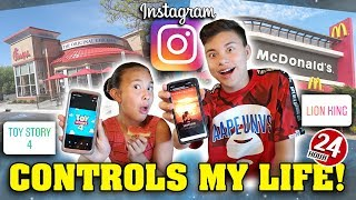 INSTAGRAM CONTROLS MY LIFE FOR A DAY!!! 24 Hour Challenge!