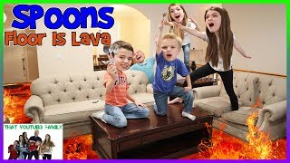 The Floor Is Lava - LAVA MONSTER - Spoons Challenge / That YouTub3 Family | Family Channel
