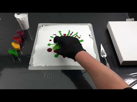 Acrylic pouring - Easy Flower Dip Technique