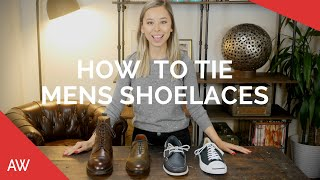 How To Tie Mens Shoelaces - Boots, Loafers, Dress Shoes, Sneakers, Suede, Waxed, Round, Cotton