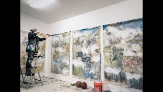 Abstract Artist: Painting In Studio: Pieces 7-10. Post-Neo-Expressionist Paintings.