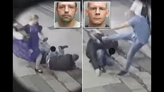 Woman  kicking man on ground as her brothers brutally beat second victim