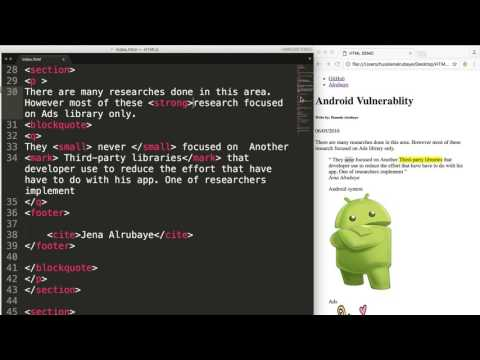 8- HTML5||  Mark and small and strong
