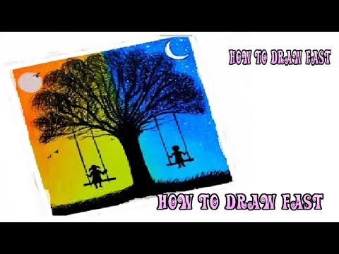 How To Draw Scene day and night easily for beginners- step by step