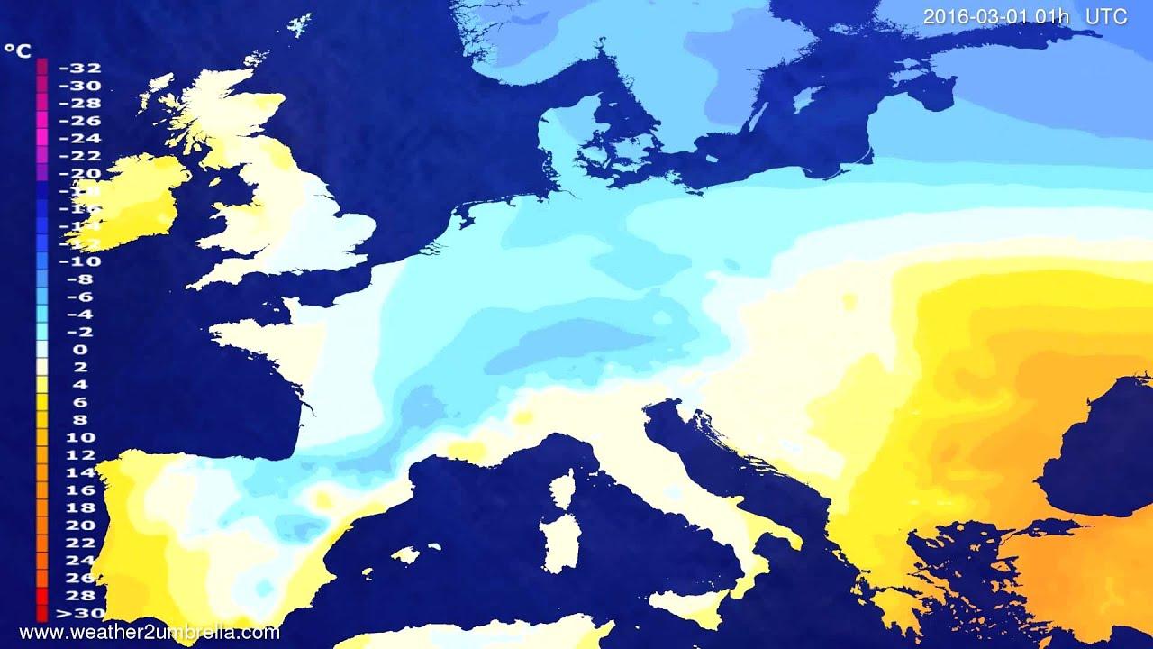 Temperature forecast Europe 2016-02-27