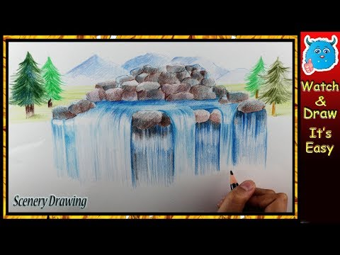 How to Draw Nature Scenery of Beautiful Waterfall Painting with Colored Pencils in Easy Steps