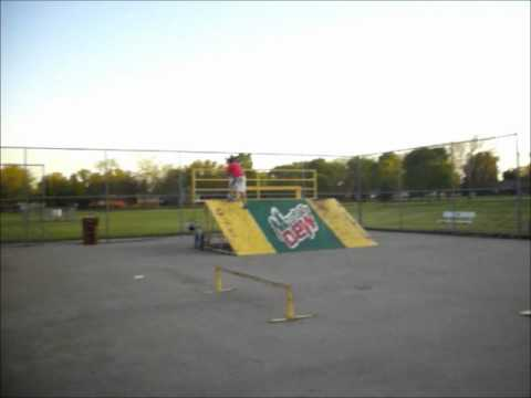 Double Whipping the Box Jump at the Huron Skatepark