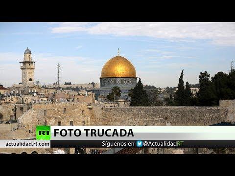 Regalan al embajador de EE.UU. foto trucada de Jerusalén con el Tercer Templo en vez de mezquitas