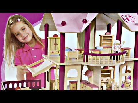 Puppen-Villa mit Möbeln und Figuren / Piętrowa Willa - Drewniany Domek - Eichhorn - 2513 - Recenzja