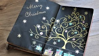 Christmas Art Journal Mixed Media Tutorial. Christmas Tree Painting