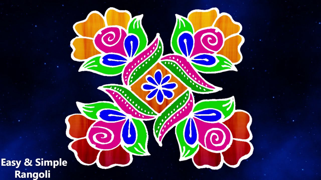 simple rangoli designs with 5 dots