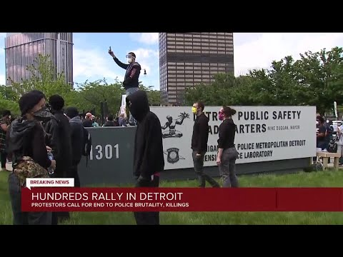 Hundreds gather at rally in downtown Detroit to protest against police brutality