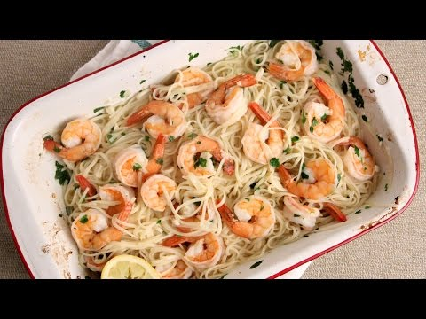 10 Minute Oven Roasted Shrimp Scampi Recipe – Laura Vitale – Laura in the Kitchen Episode 1005