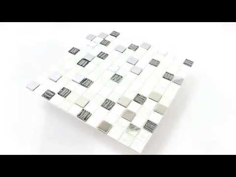 Selbstklebendes Glas Edelstahl Mosaik Fliesen Schwarz Grau Weiss