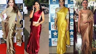 Plain Satin Saree With Designer Blouse Ideas || Satin Saree Designs And How To Style Satin Saree Tip
