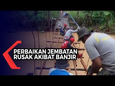Penanganan Dampak Banjir, Tagana Kalsel Bangun Jembatan Gantung dan Jembatan Darurat di HST