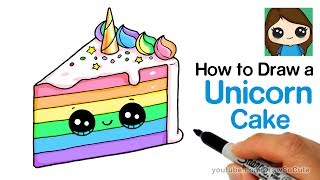 How to Draw a Unicorn Rainbow Cake Slice Easy and Cute