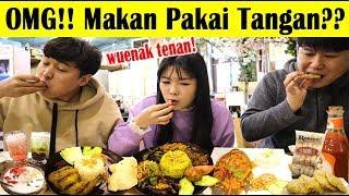 [LAHAP!!] ORANG KOREA KULINERAN INDONESIA PAKAI TANGAN (lalapan ayam, gurami dll) I 손으로 인도네시아 음식 먹기?