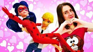 Леди Баг, Адриан и Хлоя убираются после вечеринки. Мультики с куклами. Видео для девочек