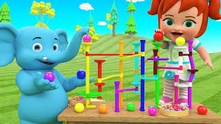 Colors for Children to Learning with Little Baby & Elephant Fun Play Color Balls Slider Toy Set Kids