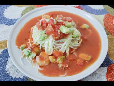 Noodles Somen con Gazpacho